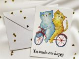 Name Card Happy Anniversary Biker Couple Cats On A Bike Cats Valentine S Day Card You Make Me Happy