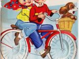 Name Card Happy Anniversary Biker Couple Cute Boy Girl Bicycle Ride Date Vintage Graphic Art