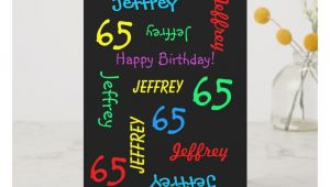 Name On Greeting Card Birthday Personalized Greeting Card Black 65th Birthday Card