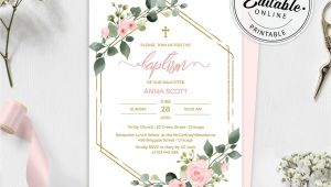 Naming Ceremony Invitation Card Template Free Download Blush Pink Floral Baptism Invitation Template Printable