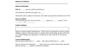 Nanny Contracts Templates Nanny Contract Template