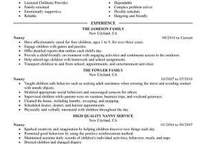 Nanny Resume Sample Best Nanny Resume Example Livecareer