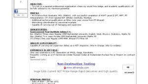 Ndt Level 2 Fresher Sample Resume Ndt Level Ii Ut Technician Resume Cv format Cv Sample