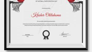Netball Certificate Templates Netball Certificate Template 5 Word Psd format