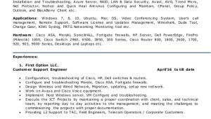 Network Engineer Resume with 2 Year Experience Resume for Network Engineer L2 Network Admin Team Leader