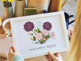 New Baby Flower Card Message Birth Flower Family Print Unframed