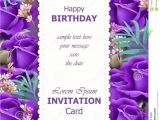 New Baby Flower Card Message Happy Birthday Violet Roses Background Vector Vintage