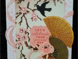 New Year Greeting Card Handmade Kaisercraft Hanami Gardens Handmade by Kay asian Cards
