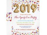 New Year Party Invitation Card New Year S Eve Party Gold Confetti Bright Invite Zazzle