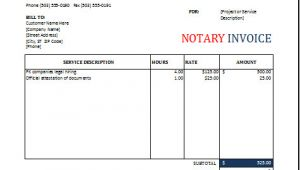 Notary Receipt Template Notary Invoice Template for Excel Excel Invoice Templates
