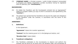 Novation Contract Templates Novation Agreement Template Freewordtemplates Net
