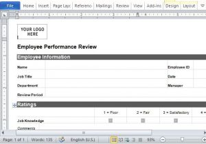 One On One Performance Review Template Employee Performance Review form for Word