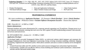 Oracle Dba Resume Sample oracle Dba Resume Example