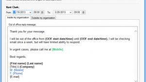Out Of the Office Email Template Set Up Out Of Office Reply for Another User On Your