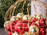 Over the Door Christmas Card Holder Metal A Beautiful Red and Gold Lighted orb Filled with ornaments