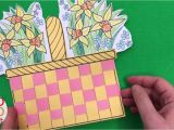 Paper Basket Weaving Template Flower Basket Paper Weaving Card with Template Diy