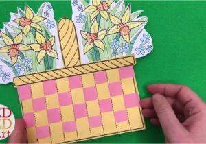 Paper Basket Weaving Template Flower Basket Paper Weaving Card with Template Diy
