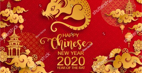 Paper Card Happy New Year A A A A A A A A A A A A A Year Of the Rat 2020