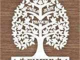 Paper Cut Family Tree Template Custom Leaf Family Tree for 3 Three Family Members Pdf Svg