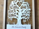 Paper Cut Family Tree Template Family Tree Papercut for 4 Names Template Commercial Use Pdf