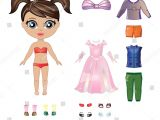 Paper Dress Up Dolls Template Beautiful Vector Dress Paper Doll Body Stock Vector
