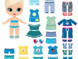 Paper Dress Up Dolls Template Summer Clothing and Shoes for A Little Girl Paper Doll