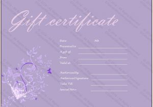Paper Gift Certificate Template Purple Paper Gift Certificate Template