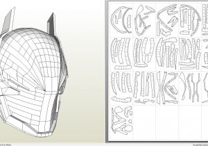Paper Knight Helmet Template Papercraft Pdo File Template for Batman Arkham Knight