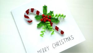 Paper Quilling Christmas Card Youtube Tutorial Christmas Card Quilling Candy Cane Christmas Card