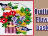 Paper Quilling Flower Card Design How to Make Beautiful Quilling Flower Basket with Birds Paper Quilling Art Home Made Decors