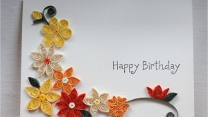 Paper Quilling Simple Card Design Handcrafted Birthday Card with Paper Quilled Flowers