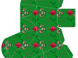 Papercraft Gift Box Templates Christmas Stylized Gift Box Template with Candy Canes
