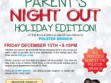 Parent Night Flyer Template Parents Night Out Flyer Fundraiser Baskets Pinterest