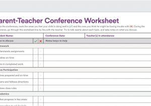 Parent Teacher Meeting Report Template Printable Parent Teacher Conference Worksheet