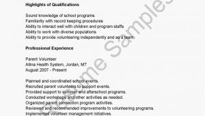 Parent Volunteer Resume Sample Resume Samples Parent Volunteer Resume Sample