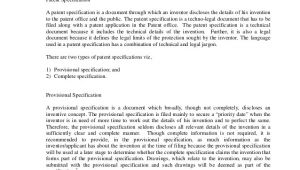 Patent Specification Template Drafting Of A Patent Specification