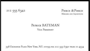 Patrick Bateman Business Card Template Business Cards A Cup Of Jo