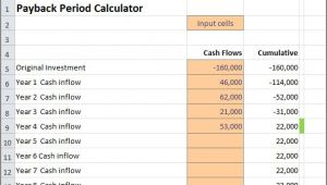 Payback Period Template Payback Period Calculator Double Entry Bookkeeping