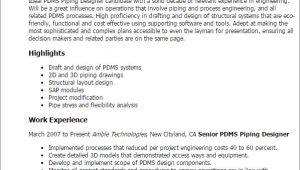 Pdms Piping Designer Resume Sample Pdms Piping Designer Resume Template Best Design Tips