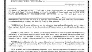 Performance Bond Template New York Performance Surety Bond