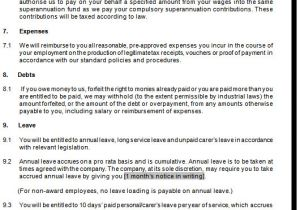 Permanent Contract Of Employment Template Part Time Employment Contracts Template