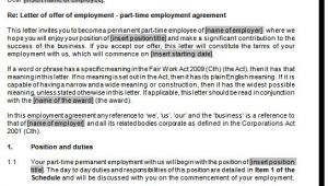 Permanent Contract Of Employment Template Permanent Part Time Empoyment Contract