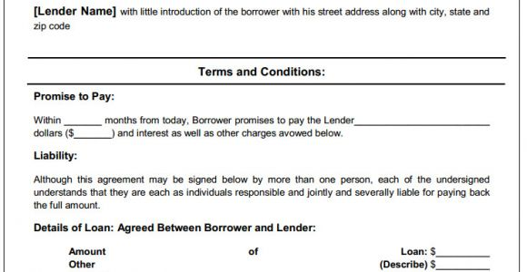 Person to Person Contract Template Personal Loan Agreement Printable Agreements Private