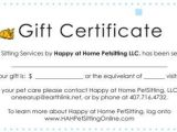 Pet Gift Certificate Template Florida Pet Sitting and House Sitting Services Gift
