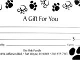 Pet Gift Certificate Template Packages Services Pink Poodle Professional High End