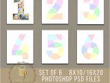 Photo Collage Number Templates Set Of 6 Year Birthday Collage Templates 8×10 16×20