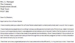 Pick Packer Cover Letter Picker Packer Cover Letter Example Icover org Uk
