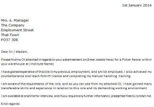 Pick Packer Cover Letter Picker Packer Job Application Cover Letter Example In