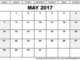 Picture Calendar Template 2017 May 2017 Calendar Template
