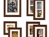 Picture Hanging Template Kit Gallery Perfect 7 Piece Walnut Wood Photo Frame Wall